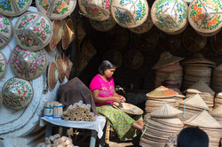 Burmese hats seller, Mingun