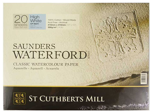 Saunders Waterford 300 gsm Cold Pressed Block – High White 16″ x 12″