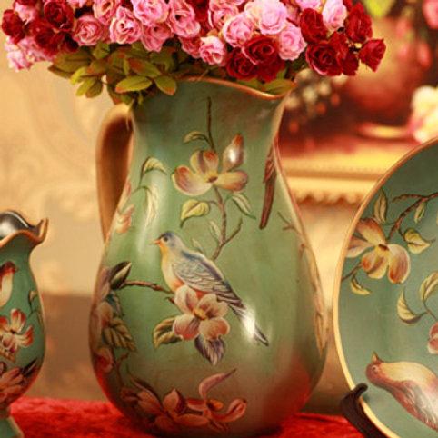 Vintage Shabby Handpainted Porcelain Vase