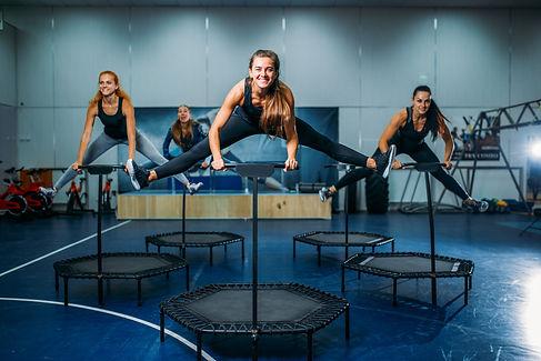 Women group on sport trampoline, fitness