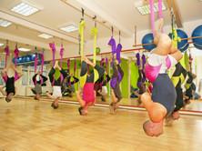 Aerial yoga practicing - anti gravity yo