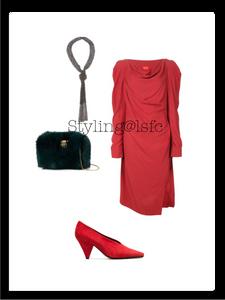 Draped dress 'Vivienne Westwood' vintage; fox fur bag 'Benedetta Bruzziches'; red suede aunty '60s pump 'Neous'; woven necklace 'Christian Koban'.