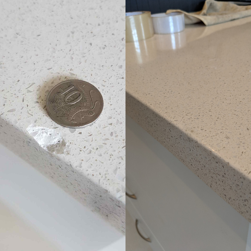 Repairng chipped stone benchtop Konig Surface Repair Technicians.
