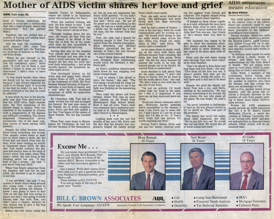 "Bloomington Herald-Times October 1, 1989  ""Mother of AIDS victim shares her love and grief,"" continued"