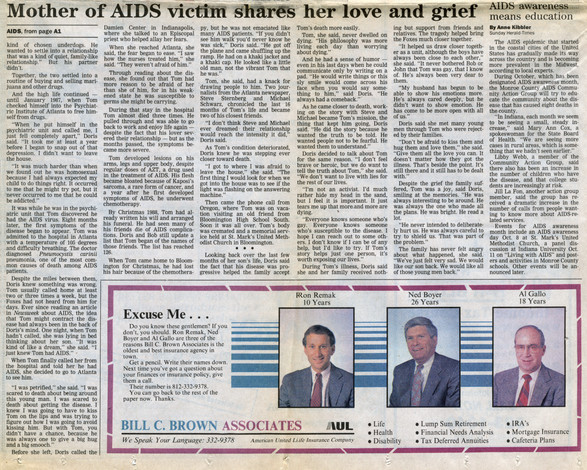 """Bloomington Herald-Times October 1, 1989  """"Mother of AIDS victim shares her love and grief,"""" continued"""