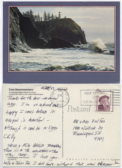 "Cape Disappointment Postcard June 28, 1989  Two weeks before his death, Tom sent this postcard to his parents from Oregon, saying ""I'm so relaxed and happy I can't believe it."""