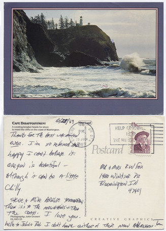 """Cape Disappointment Postcard June 28, 1989  Two weeks before his death, Tom sent this postcard to his parents from Oregon, saying """"I'm so relaxed and happy I can't believe it."""""""