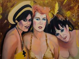"Linda Montano, Veronica Vera, Annie Sprinkle Yellow Year #4 28"" x 36"" Oil on Canvas"