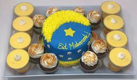 Custom Eid Mubarak Cake, with salted Caramel cupcake, Mango Mousse