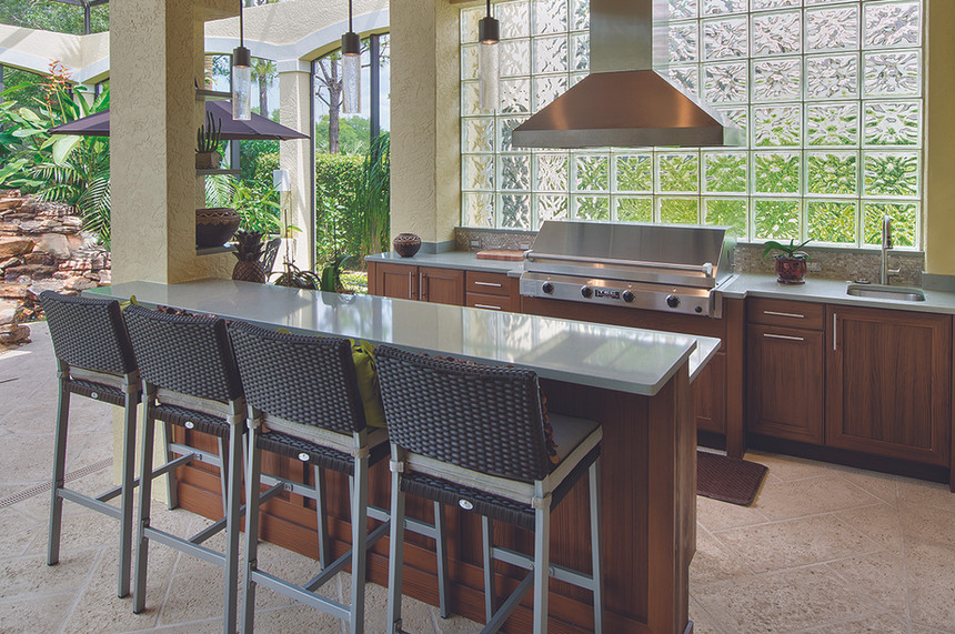 Island-and-l-shaped-outdoor-kitchen