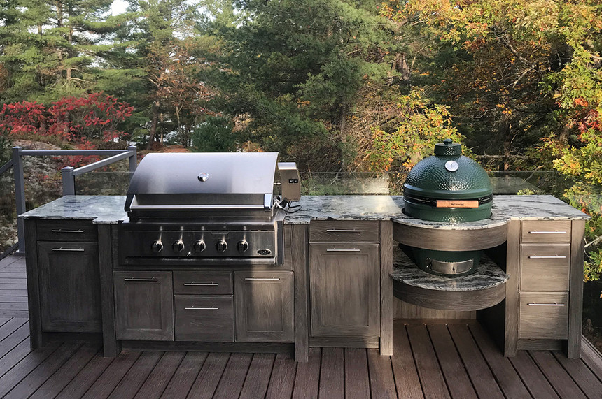 Transitional Outdoor Kitchen cottage-deck-cabinets