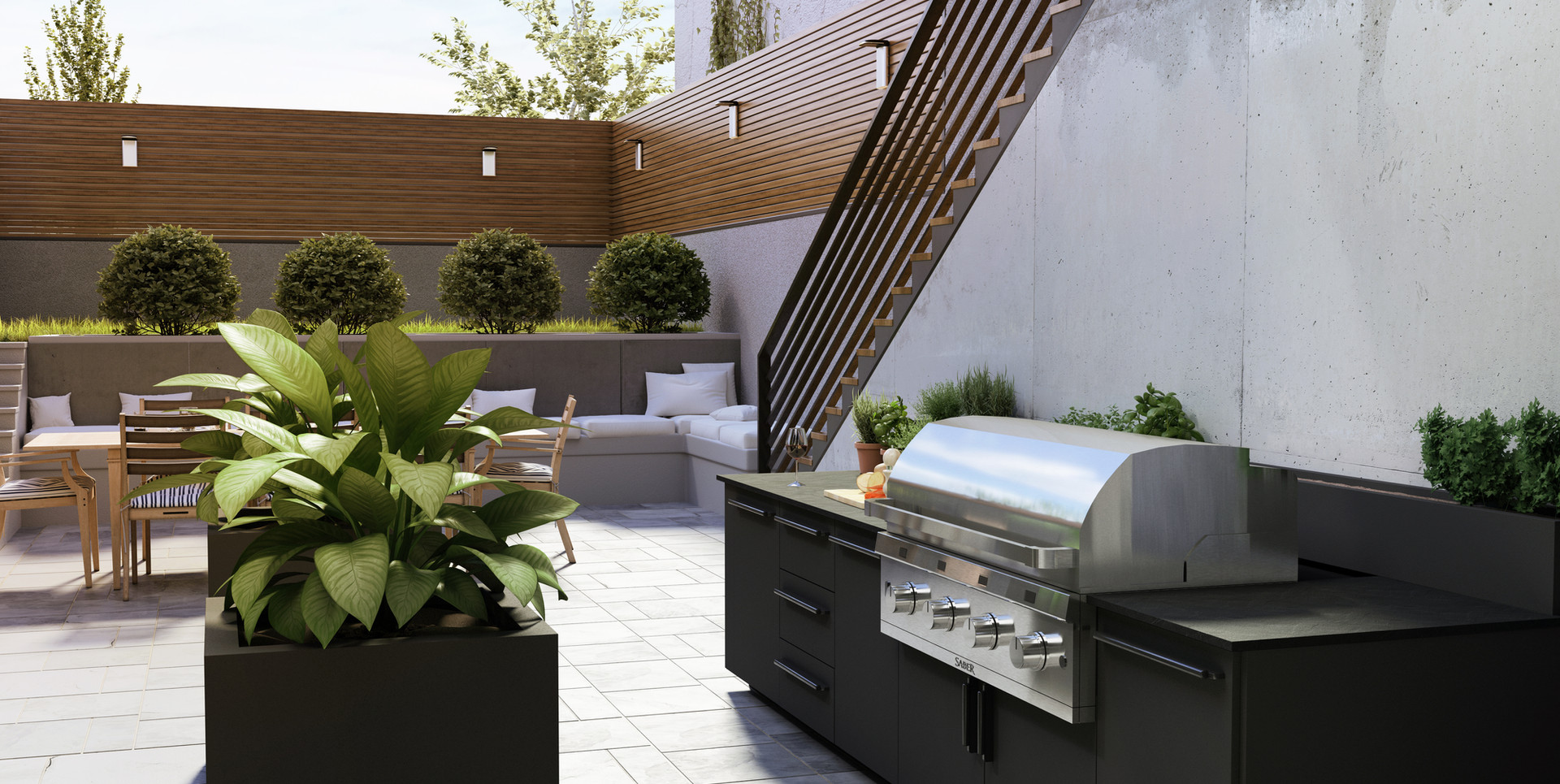 Urban_Plan Outdoor Modern Kitchen
