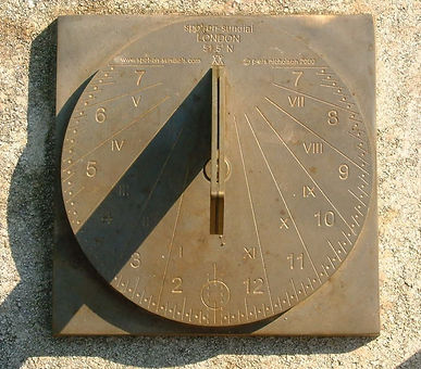 Brass Spot on Sundial With Natural Weathering