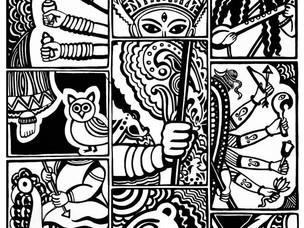 Durga screenprint by Sreeja Basu