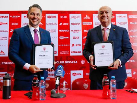 CLUB NECAXA Y LA UNIVERSIDAD DEL VALLE DE MEXICO  FIRMAN IMPORTANTE CONVENIO DE COLABORACIÓN.