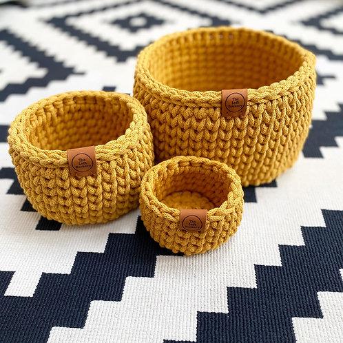 Crochet Basket Set of Three