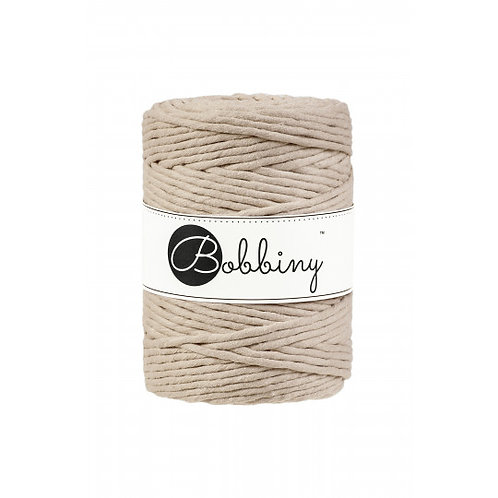 Beige Bobbiny single twist macrame cord 5mm