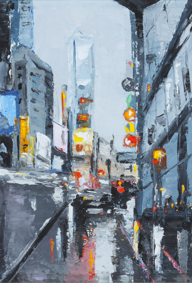 New York New York II, 7x9, oil, sold