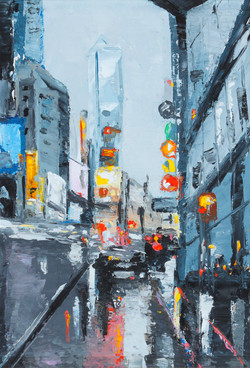 New York New York II, 7x9, oil, sold