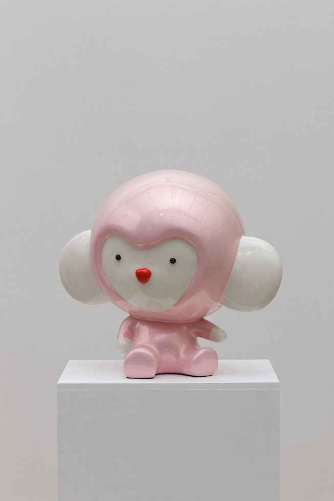 Pink Kiki thinks what he did. 43x28x40cm, car paint on plastic, 2010
