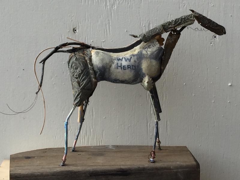 8. Peggy Sivert, WW herd, ceramic, found objects, 10__x 12__x 4__,2016 sold sm