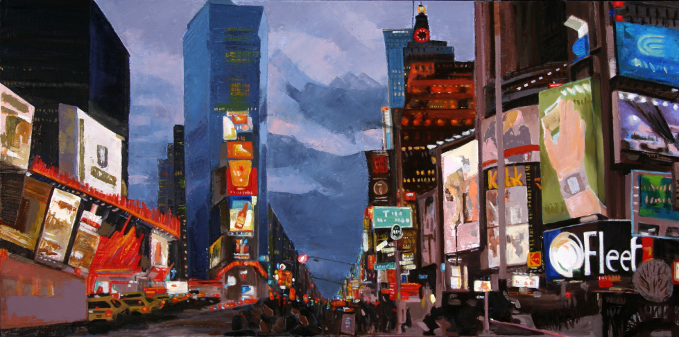 New York, New York, 30x60, oil,