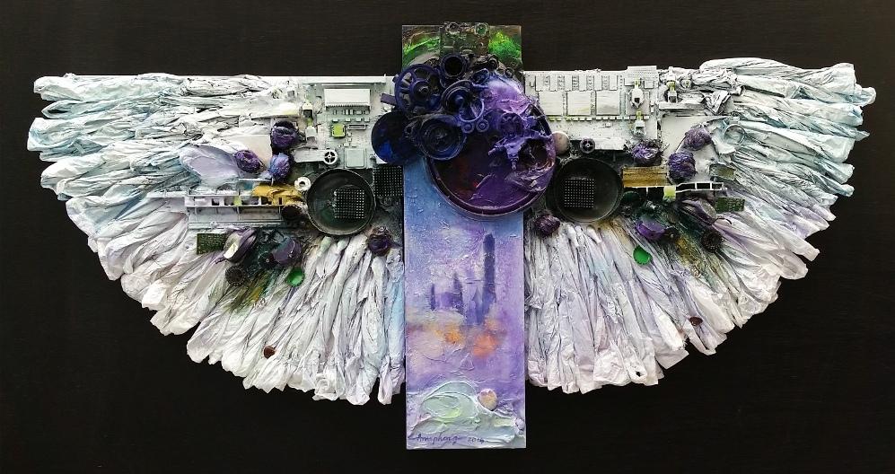 ann phong, Angel, mixed media, 24x48x3, 2014