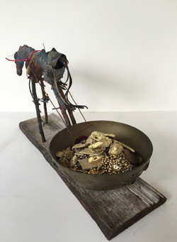 """9.  Peggy Sivert """"Beast of Burden"""" 10""""x18""""x8"""" Ceramic and found objects, 2014 sm"""