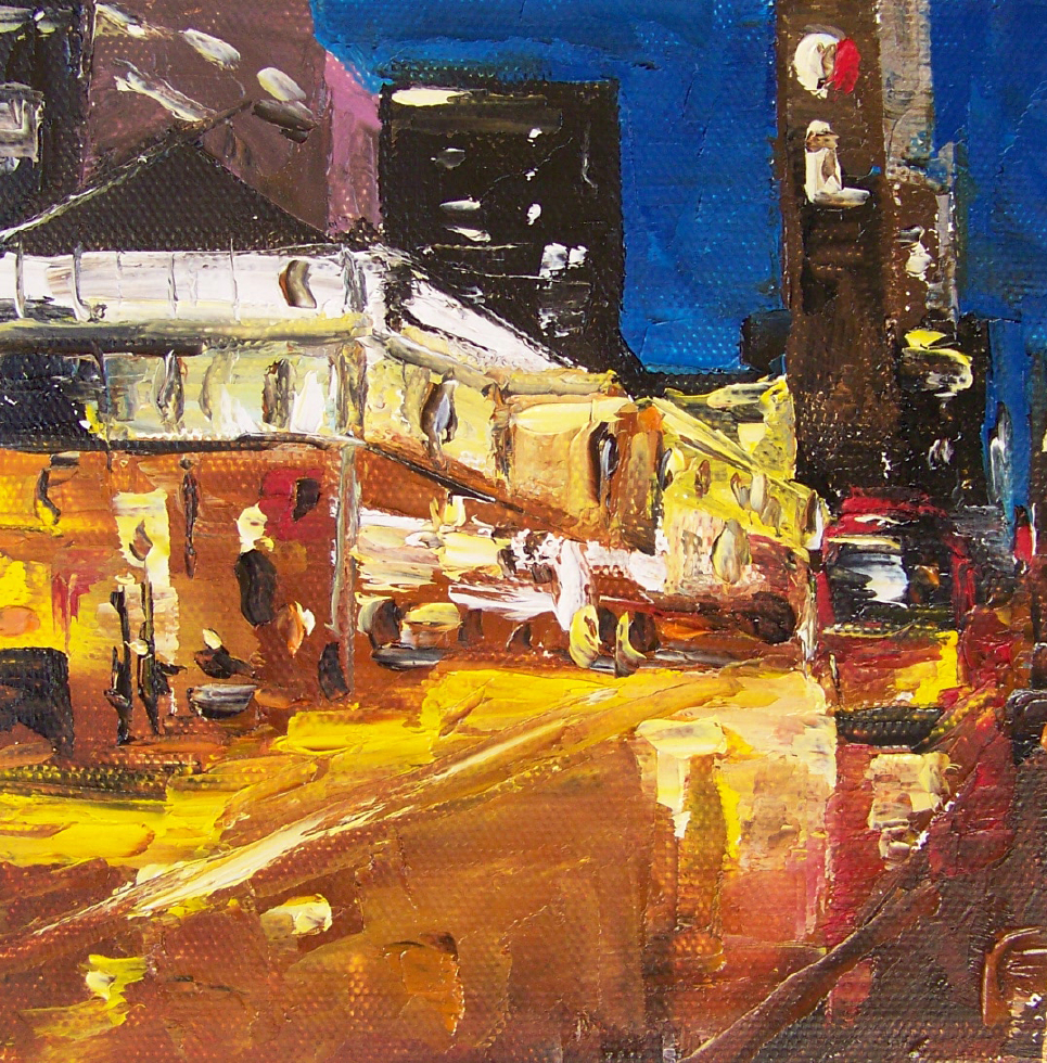 city 3, 6x6, oil, sold