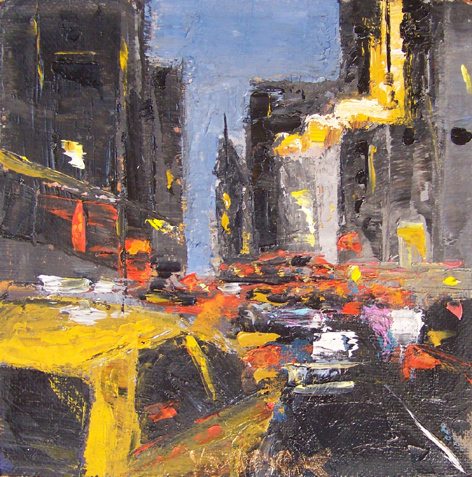 city 5, 6x6, oil, sold