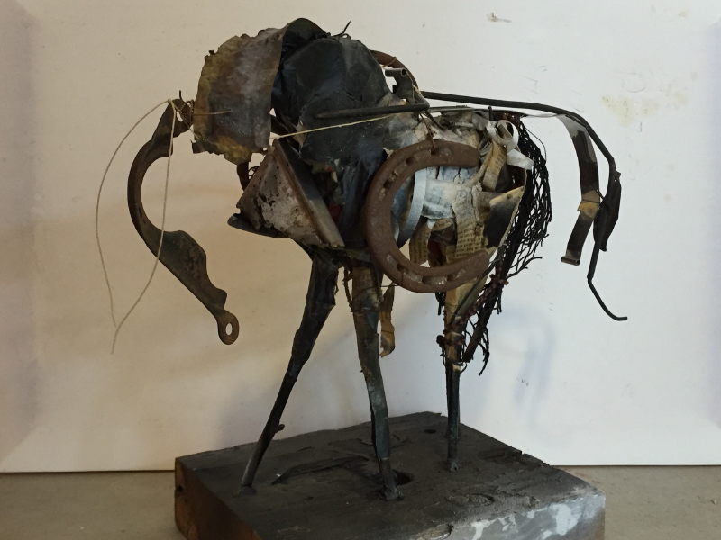 """7._Peggy_Sivert_NY_Horse_14""""_x_7""""_x_7.5_Ceramic,_found_objects_sold_steve_webster,sm_copy"""