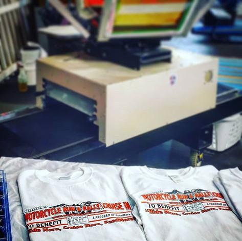 Some shirts printed on site at the Annua
