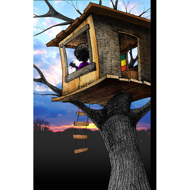 girl with wagon treehouse