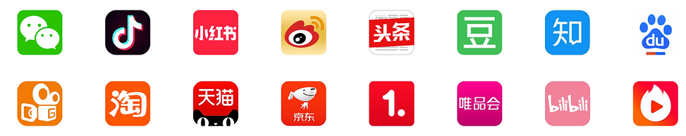 Top Chinese digital media Wechat Douyin Tiktok Red book Weibo Toutiao Zhihu Top online shop Taobao Tmall JD