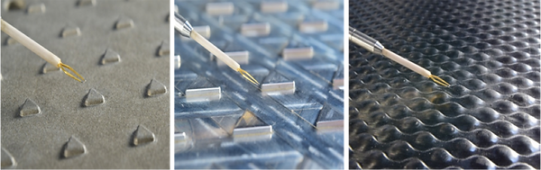 Three different test surfaces with three-dimensional protrusions