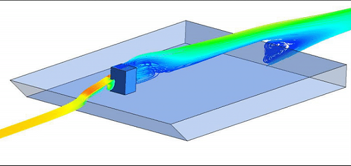 CFD analyses of a single center-line streamline  approaching a protrusion on a flat surface