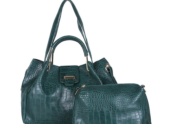 Teal Green Textured Leather Handheld Bag