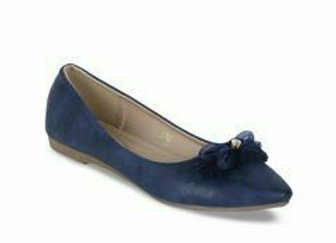 Women Blue Solid Suede Ballerinas