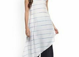 Women White Striped A-Line Kurta