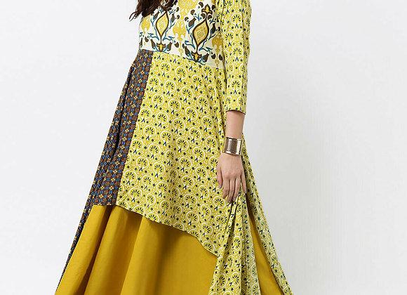 Women Yellow Printed A-Line Layered Kurta