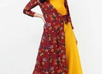 Women Maroon & Yellow Printed A-Line Kurta