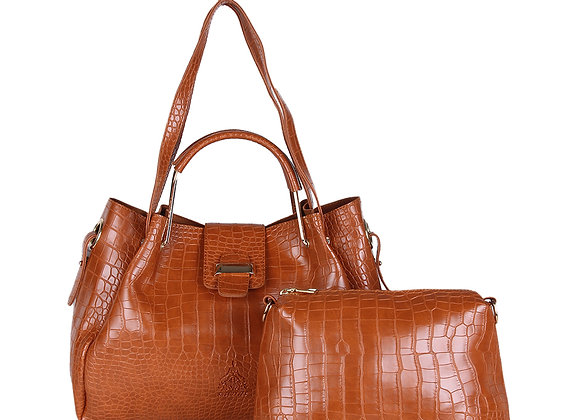 Tan Brown Textured Handheld Bag
