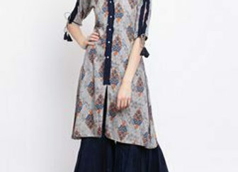 Women Navy Blue & Orange Printed Kurti with Palazzos