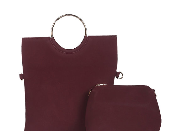 Women Maroon Leather Solid Clutch