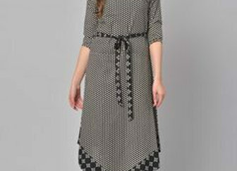 Women Black & Grey Printed A-Line Kurta