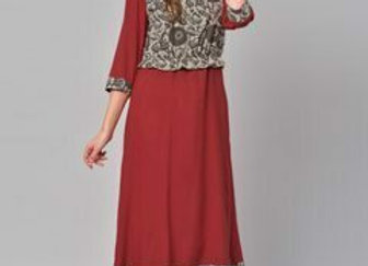 Women Red & Grey Printed Straight Kurta