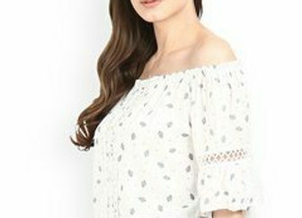 Women White Printed Bardot Top