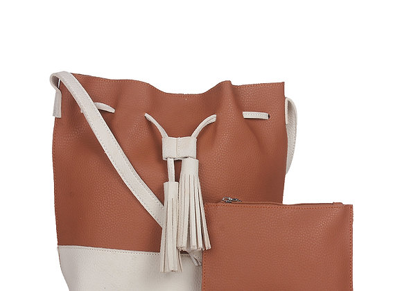 Brown & White Colourblocked Shoulder Bag