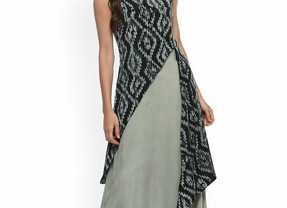 Women Black & Grey Abstract Print Layered A-Line Kurta