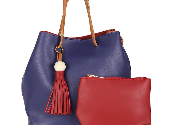 Blue & Red Colourblocked Shoulder Bag
